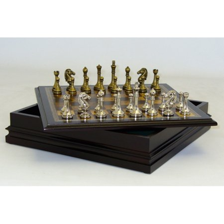 - Classic Games Collection Metal Chessmen with Deluxe Wood Board