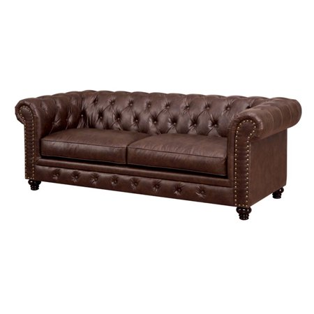 Furniture of America Villa Traditional Tufted Faux Leather Sofa in Brown Traditional Brown Leather
