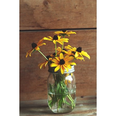canvas print glass decoration daisies flowers jar yellow stretched canvas 10 x 14 - Daisy Decorations