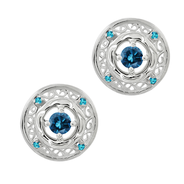0.59 Ct Round Blue Diamond Swiss Blue Simulated Topaz 14K White Gold Earrings
