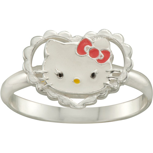 Hello Kitty Heart Ring in Sterling Silver, Size 3