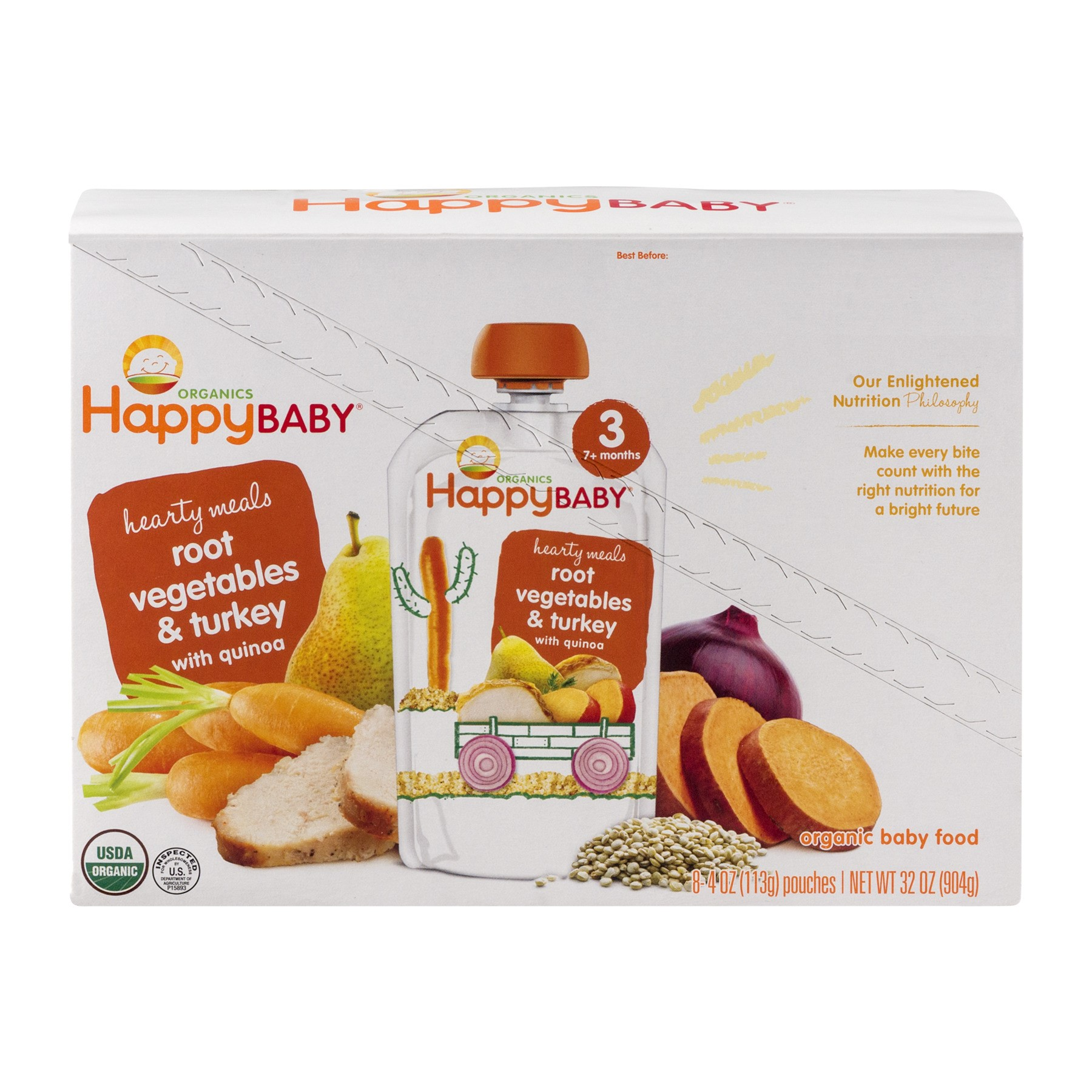 (8 Pack) Happy Baby Hearty Meals, Stage 3, Organic Baby Food, root vegetables & turkey with quinoa - 4oz