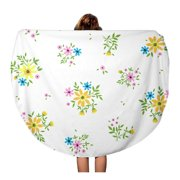 NUDECOR 60 inch Round Beach Towel Blanket Cute Pattern in Small Flower Yellow Ditsy Floral The Travel Circle Circular Towels Mat Tapestry Beach Throw