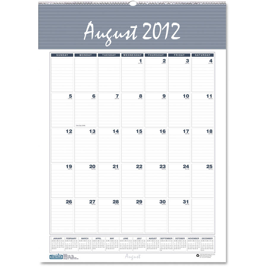 "House of Doolittle HOD354 Bar Harbor Wirebound Academic Monthly Wall Calendar, 22"" x 31-1/4"", 2012-2013"