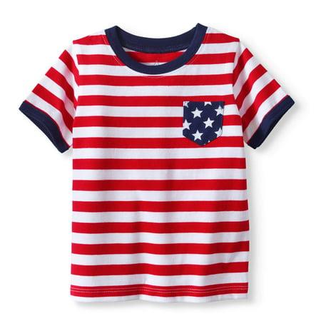 Baby Boy Short Sleeve Striped Pocket T-shirt (Baby Reveal T Shirts)