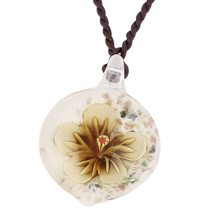 Glass Pressed Flower Style Pendant Necklace Jewellery Beige White