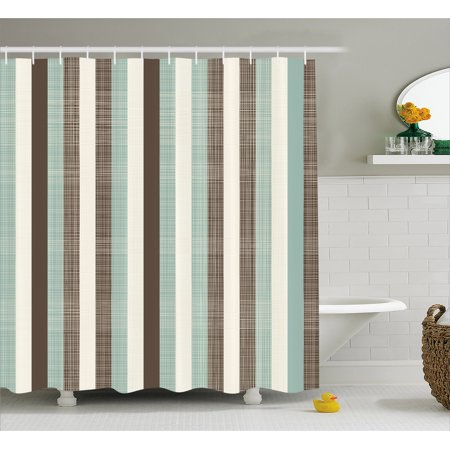 Retro Shower Curtain Classical Vertical Stripes Fabric Texture Image Old Fashioned Display Bathroom