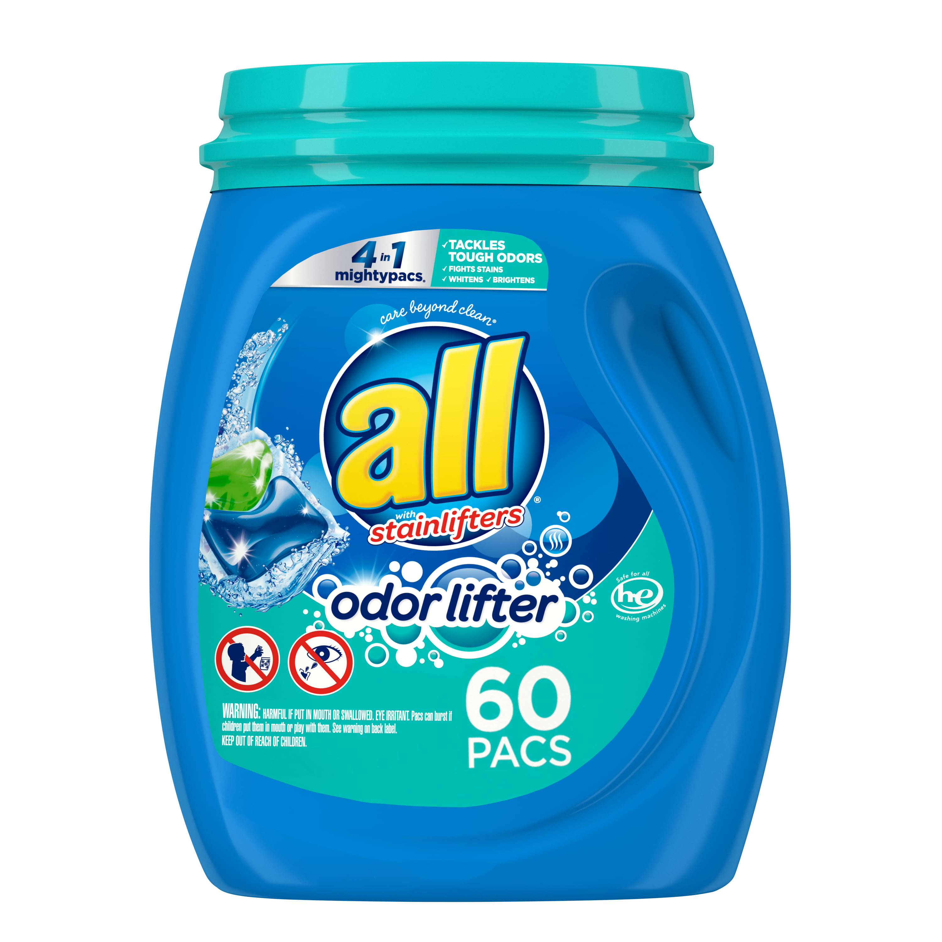 all Mighty Pacs Laundry Detergent, 4 in 1 with Odor Lifter, Tub, 60 Count