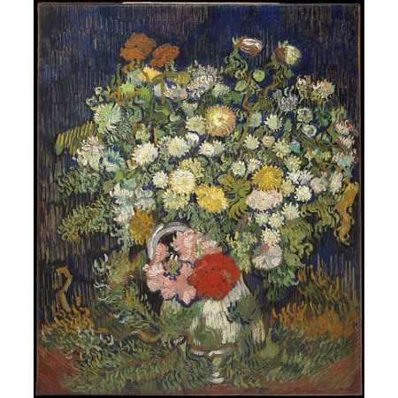 Bouquet Of Flowers In A Vase Poster Print By Vincent Van Gogh  Dutch Zundert 1853   1890 Auvers Sur Oise   18 X 24