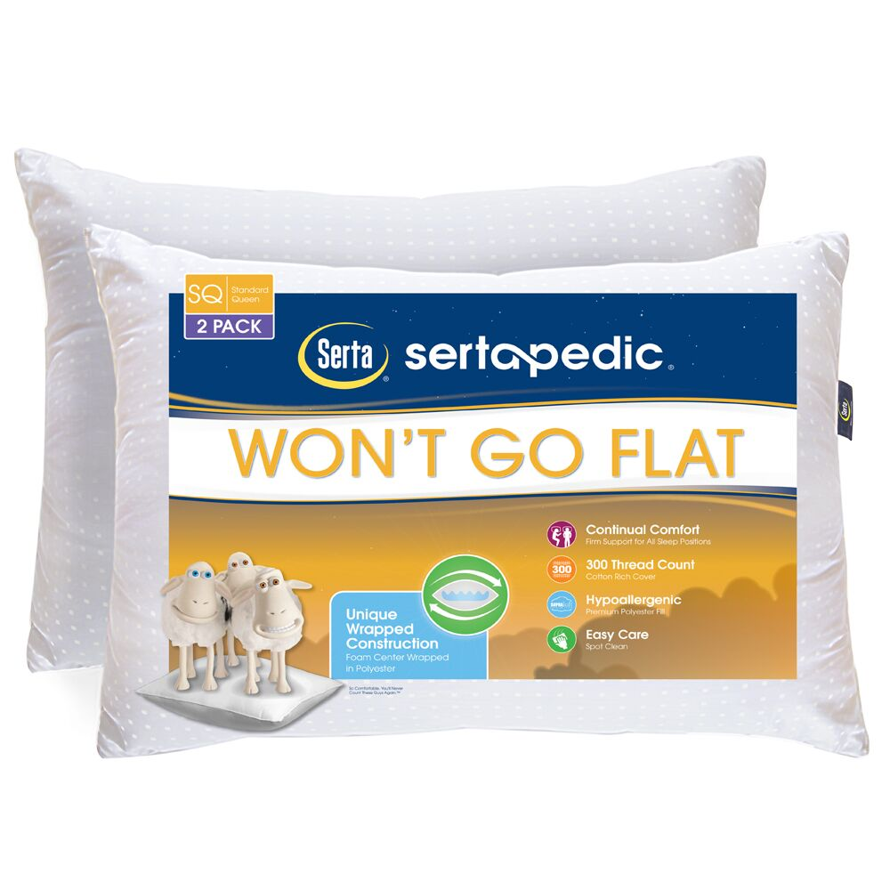 Sertapedic Won't Go Flat Pillows, Set of 2