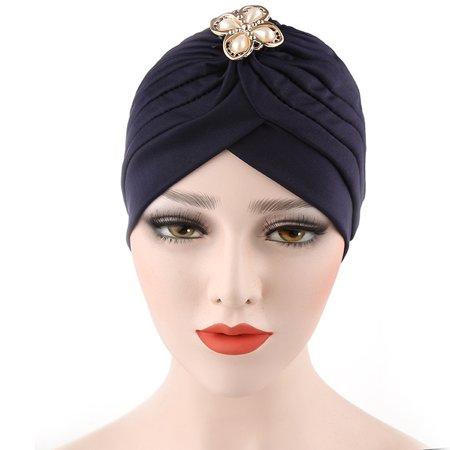 DZT1968 Women Diamonds Muslim Ruffle Cancer Chemo Hat Beanie Scarf Turban Head Wrap Cap - Walter White Hat Halloween