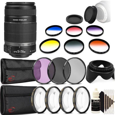 Canon EF-S 55-250mm f/4-5.6 IS II Lens for Canon EOS Rebel T6 T6i T7i 70D 80D with Graduated Color Filter Set + Macro Filter Kit + Tulip Lens Hood and More Accessories