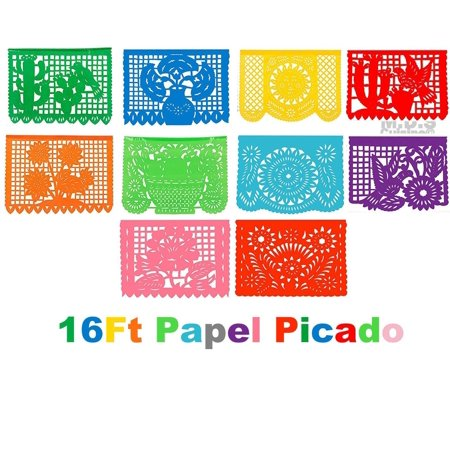 Papel Picado 16Ft Plastic Traditional Authentic Cultural Mexican Decorative Fiesta Party Flags Patterned Folk Art Festive Decorations - Fiesta Decoration Ideas