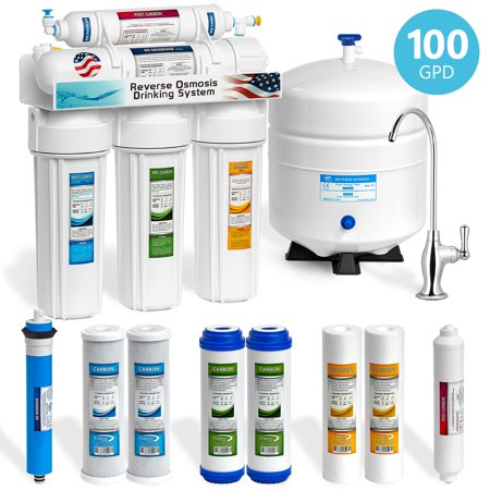 Fns Plus Filter Tank - Express Water 5 Stage Under Sink Reverse Osmosis Water Filtration System 100 GPD RO Membrane Filter Deluxe Chrome Faucet Ultra Safe Residential Home Drinking Water Purification Extra Set of 4 Filters
