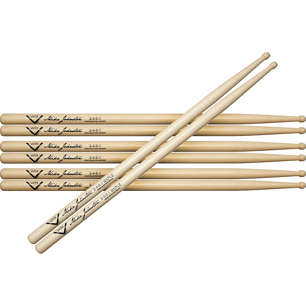 Vater Buy 3 Pair Mike Johnston 2451 Hickory Sticks Get 1 Maple Pair Free by Vater