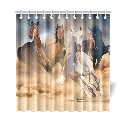 GCKG Cool Wild Animal Shower Curtain Running Horse Herd Polyester Fabric Bathroom Sets 66x72 Inches