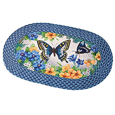 Collections Etc Vintage Spring Butterfly and Floral Braided Rug