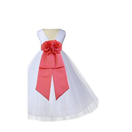 Ekidsbridal White V-Neck Tulle Flower Girl Dresses Wedding Tulle Dresses Formal Special Occasions Pageant Dresses Recital Reception First Communion Holy Baptism Seasonal Holiday 108 - White Special Occasion Dress