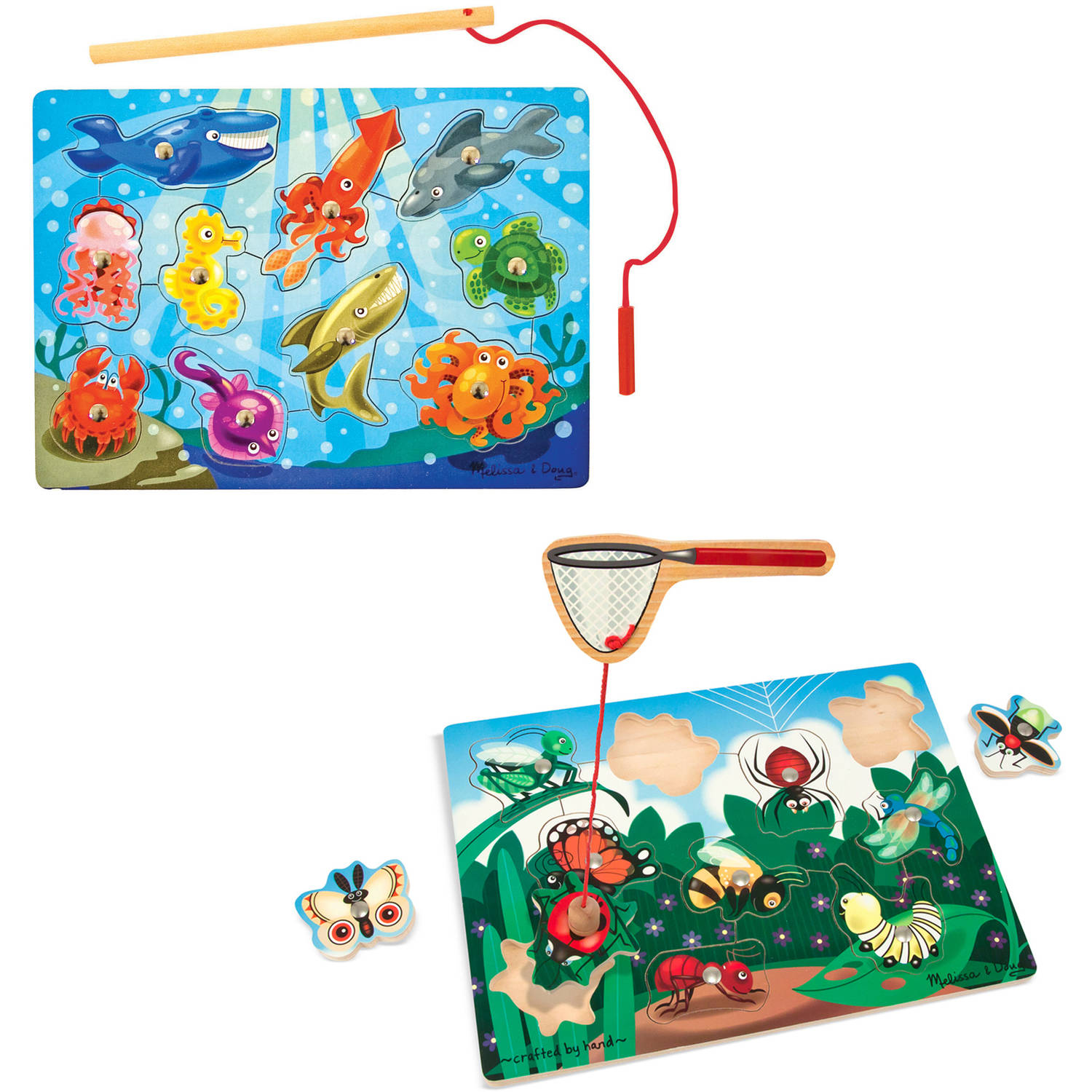 Melissa & Doug Magnetic Wooden Puzzle Game Set: Fishing and Bug Catching by Generic