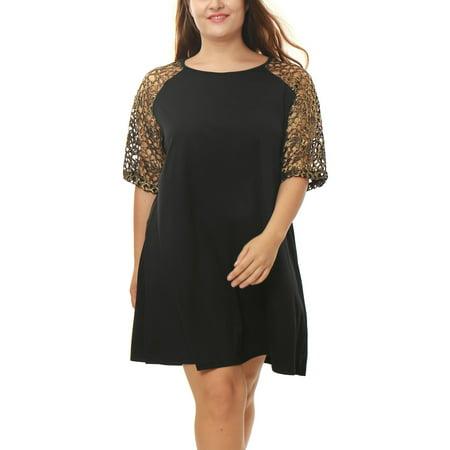 Unique Bargains - Women\'s Plus Size Metallic Crochet Sleeves Loose Swing  Dress Black 3X - Walmart.com