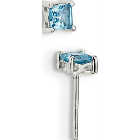925 Sterling Silver 4mm Princess Swiss Blue Topaz Post (5x5mm) Earrings - image 1 de 2