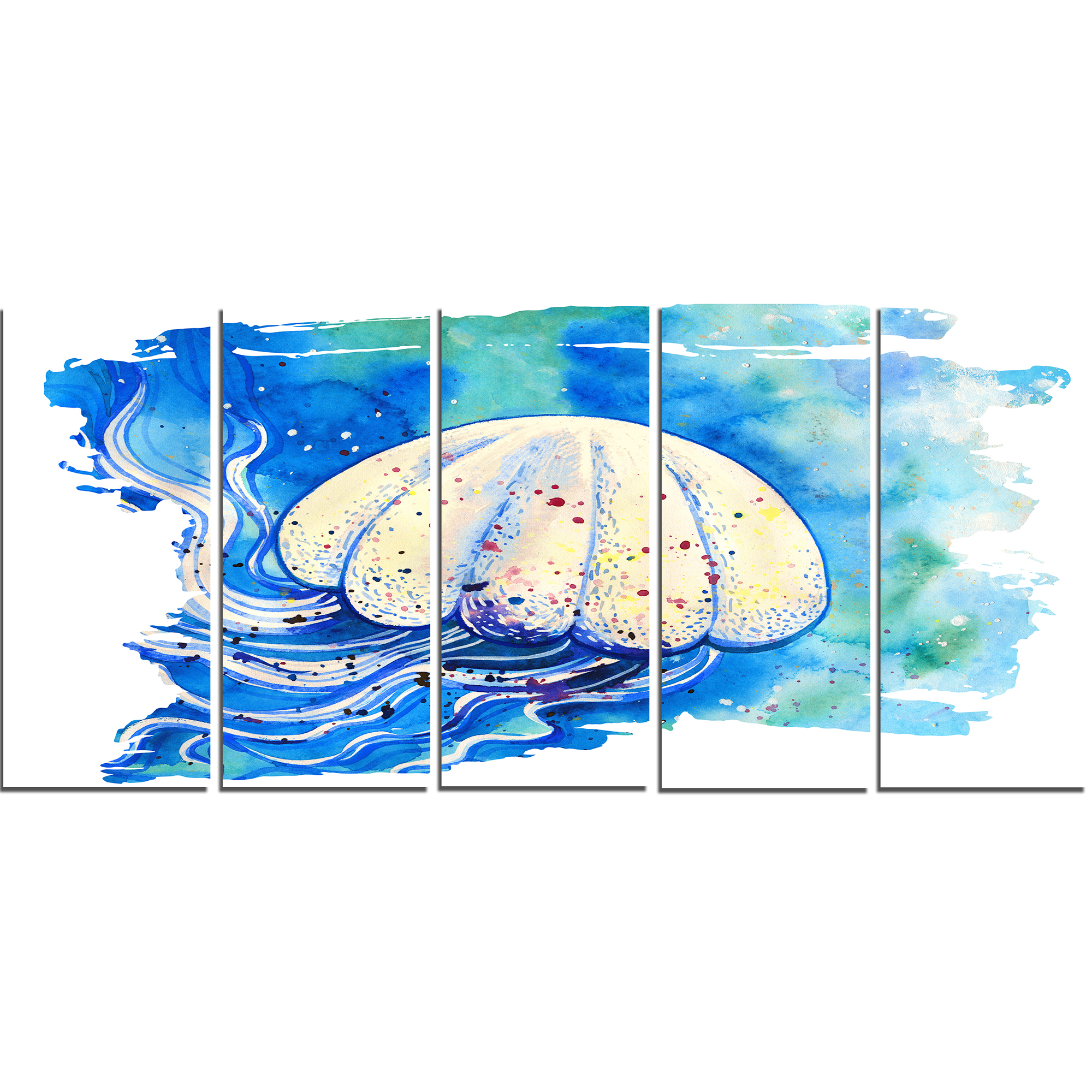 Jellyfish Watercolor Painting - Abstract Canvas Art Print - image 1 de 3