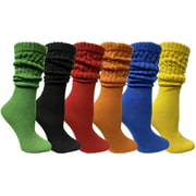 6 Pack Yacht & Smith Womens Cotton Slouch Socks, Womans Knee High Boot Socks (Assorted)
