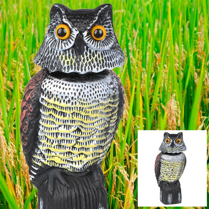 Topeakmart Garden Protection Repellent Bird Scarer Natural Enemy Scarecrow Rotating Head Realistic Owl