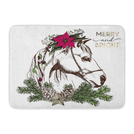 GODPOK Portrait of Boho Christmas Horse Decorated with Winter Floral Wreath and Fir Branch Pinecone and Star Rug Doormat Bath Mat 23.6x15.7 inch](Decorate Classroom Door For Christmas)