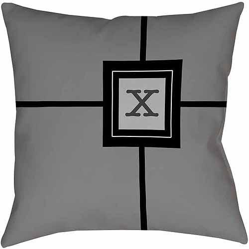 MWW, Inc. Thumbprintz Grid Monogram Grey Decorative Pillows