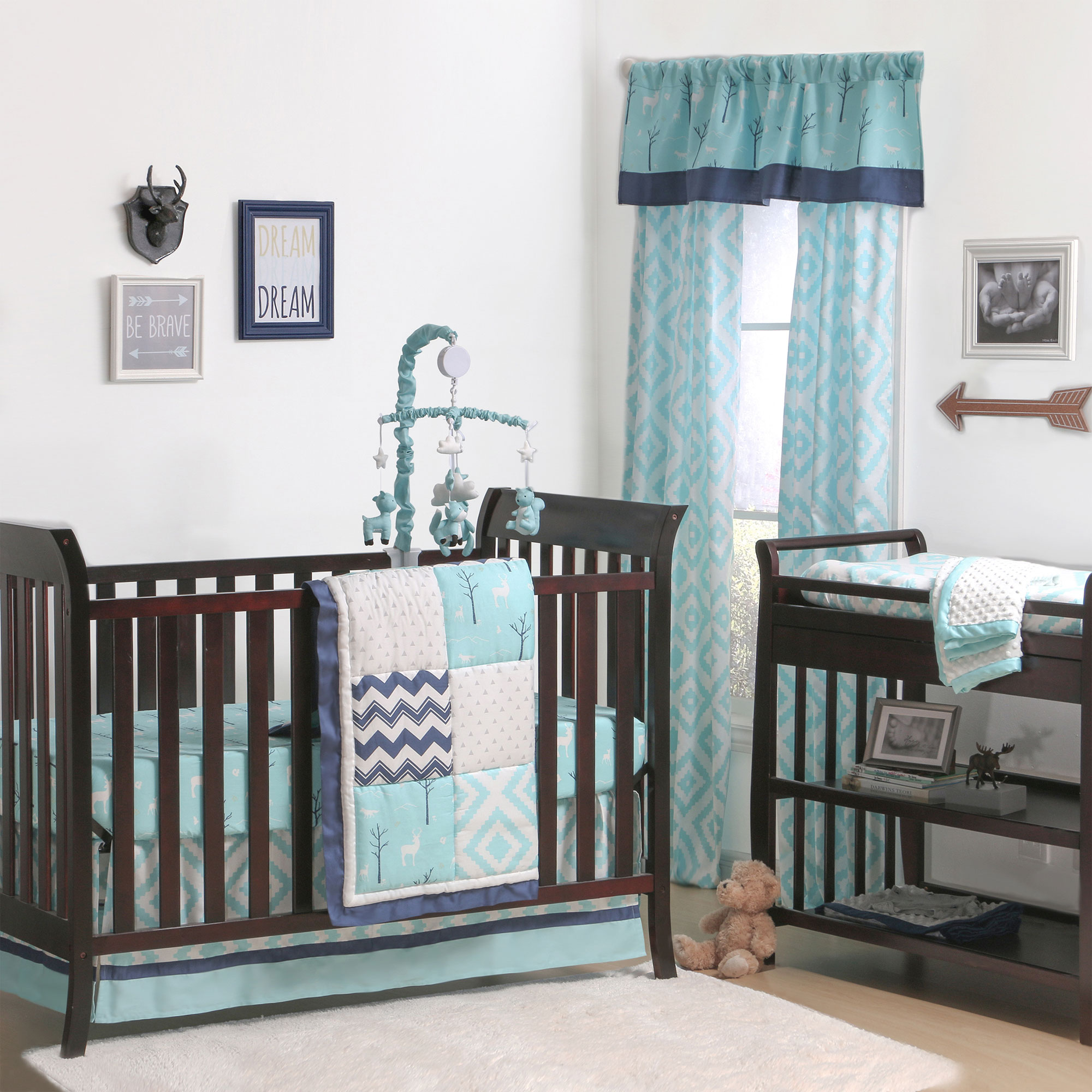 Baby Crib Bedding Set Turquoise Gray