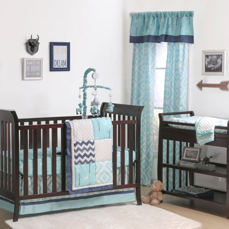The Peanut Shell 4 Piece Baby Crib Bedding Set Turquoise Gray And Navy Blue