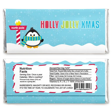 Penguin Party Favors (Holly Jolly Penguin - Candy Bar Wrapper Holiday & Christmas Party Favors - Set of)