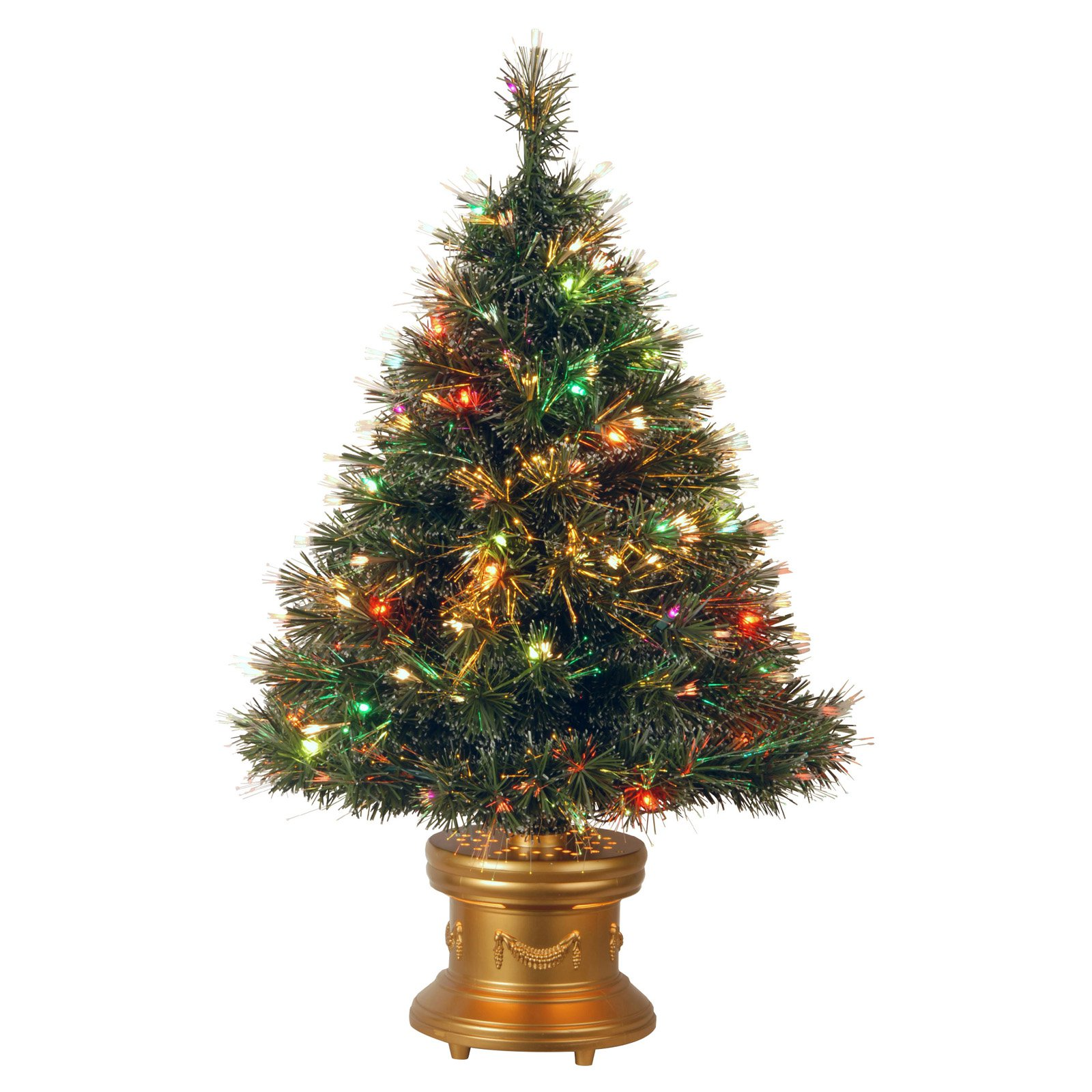 "National Tree Pre-Lit 36"" Fiber Optic Ice Artificial Christmas Tree with Revolving LED Gold Base and 50 Multi Color Lights"