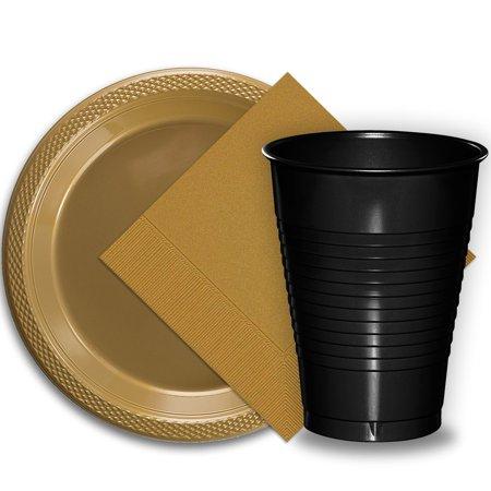 50 Gold Plastic Plates (9
