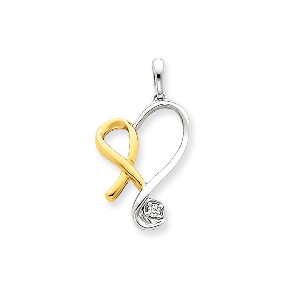 14k Two Tone Gold Diamond Heart Pendant. Carat Wt- 0.04ct