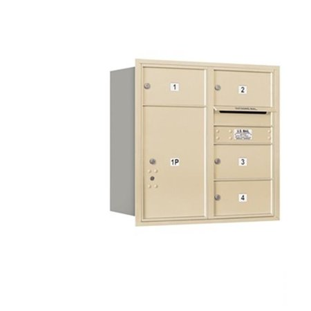 - Salsbury 3708D-04SRP 4C Horizontal Mailbox Includes Master Commercial Lock - 8 Door High Unit - 30.50 Inches - Double Column - 4 Mb2 Doors - 1 Pl6 - Sandstone - Rear Loading - Private Access