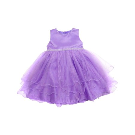 Little Girls Lilac Shimmery Dot Overlaid Satin Elegant Flower Girl Dress