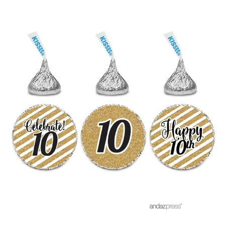 Milestone Chocolate Drop Labels Trio, Fits Hershey's Kisses Party Favors, 10th Birthday, 216-Pack, Not Real Glitter (Milestone Birthday Supplies)