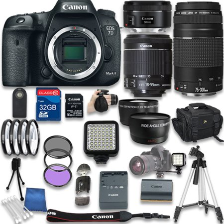 Adapter Lens Adapters - Canon EOS 7D Mark II DSLR Camera with W-E1 Wi-Fi Adapter with Canon EF-S 18-55mm f/3.5-5.6 IS STM Lens + Canon EF 50mm f/1.8 STM Lens + Canon EF 75-300mm + 32GB SD Memory Card + Accessory Bundle - Int