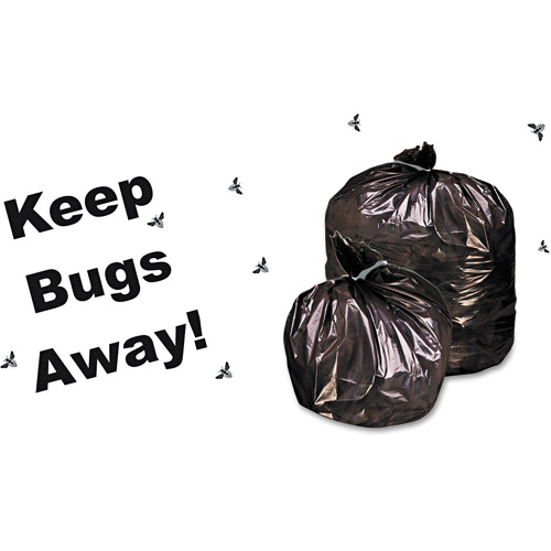 Stout Insect-Repellent Black Trash Bag With Pest-Guard, 55 gal, 65 ct