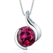 Oravo 2.75 Carat T.G.W. Round-Cut Created Ruby Rhodium over Sterling Silver Pendant, 18