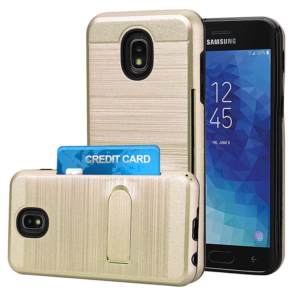 Samsung Galaxy J7 2018 / J737 / Refine Brushed Shockproof With Kickstand Card Slot Holder Case Cover
