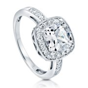 Rhodium Plated Sterling Silver Cushion Cut Cubic Zirconia CZ Halo Engagement Ring Size 10