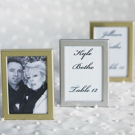 Easel Back Mini Photo Frames Brushed Silver Set of 3 Wedding Favor
