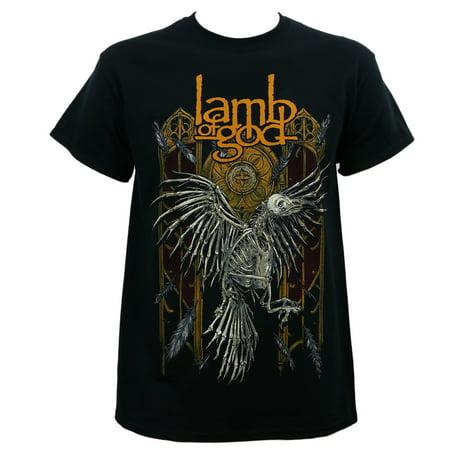 lamb of god band crow skeleton black t-shirt - Crow Skeleton