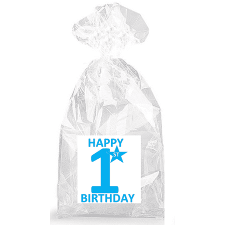 Boys Blue Happy 1st Birthday  Party Favor Bags with Ties - 12pack](Birthday Party Favor Bags)