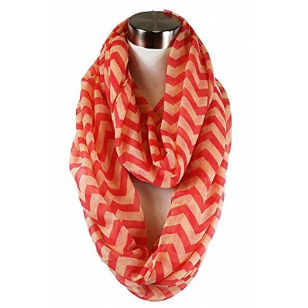 - Sassy Scarves Women's Spring Summer Multi Pattern Infinity Fashion Scarf (Coral/Peach-3466)