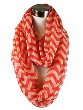 Sassy Scarves Women's Spring Summer Multi Pattern Infinity Fashion Scarf (Coral/Peach-3466)