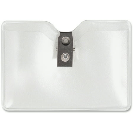 Advantus Security ID Badge Holder with Clip, Horizontal, 3 1/2w x 2 1/2h, Clear, 50/Box (Badge Holder With Clip)